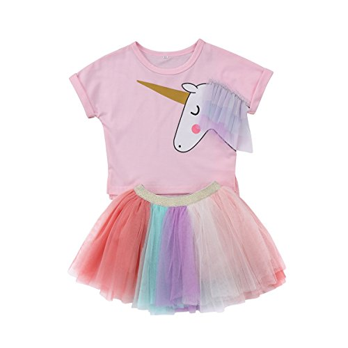 Fairy Princess UK, Girls Multicoloured Rainbow Tutu Unicorn Cotton Tshirt - Pretty Casual Clothing Party Holiday Set. 18 Months to 6 Years