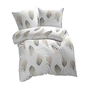 Etérea 2 Tlg Renforcé Bettwäsche Federn 100 Baumwolle Bettbezug Weiß Braun Grau 135x200 Cm 80x80 Cm