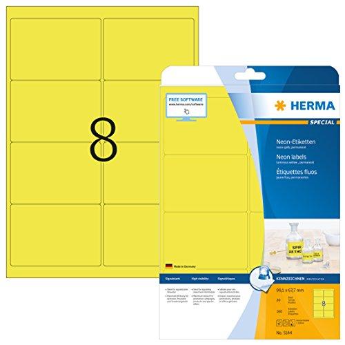 HERMA 5144 Farbige Etiketten DIN A4 (99,1 x 67,7 mm, 20 Blatt, Papier, matt) selbstklebend, bedruckbar, permanent haftende Farbetiketten, 160 Klebeetiketten, neon-gelb