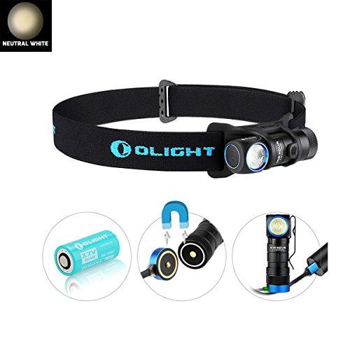 Olight H1R Nova - Lampe Torche Frontale Rechargeable LED Cree XM-L2 600 Lumens, Lampe Amovible, Bandeau Elastique Réglable, 5 Modes d'Eclairage, (Lumière Neutre Froid)