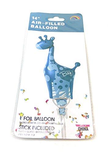 AEX Babydusche geformter Folienballon (Giraffe, blau)