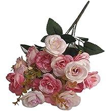 1 Manojo 18 de Cabeza Rosas Ramo Flores Artificiales Decoración Boda Fiesta Hogar - Rosa