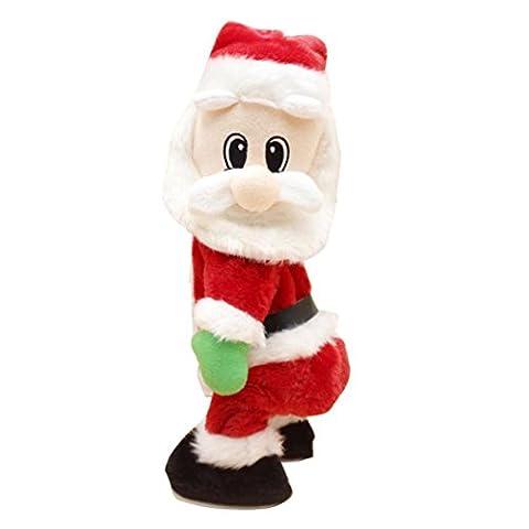 irina 2017 Mode Noël père Noël Figure Twist Hip Twerking Jouets électriques à chanter pour enfants (6.3 * 4.7 * 18inch, ROUGE)