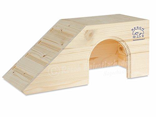 Resch Nr01 Meerschweinchenhaus naturbelassenes Massivholz aus Fichte / mit großem Eingang und Treppe zum Dach / zum Spielen und Klettern (Tier Rampe Treppe)