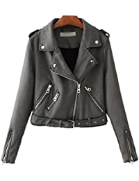 Baymate Damen Classics Jacke Elegant Wildleder Suede Kurz Jacket Outwear dcdcf7633f