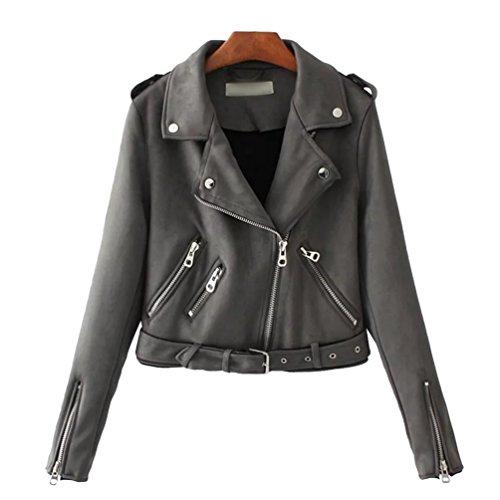 Baymate Damen Classics Jacke Elegant Wildleder Suede Kurz Jacket Outwear -