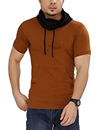 Tees Collection Men's Cotton Half Sleeve Mustard Color Hooded T-Shirt
