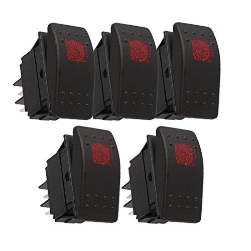 Larcele 5 Stück 4 Pin Rocker Kippschalter mit Kontrollleuchte QCKG-01 (Rot Licht) -