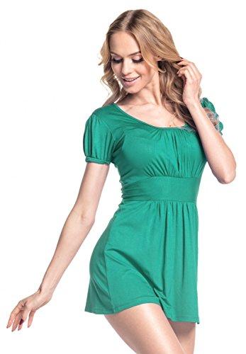 Glamour Empire. Damen Jersey Top quadratischen Ausschnitt Kurzarm M-3XL. 408 Teal