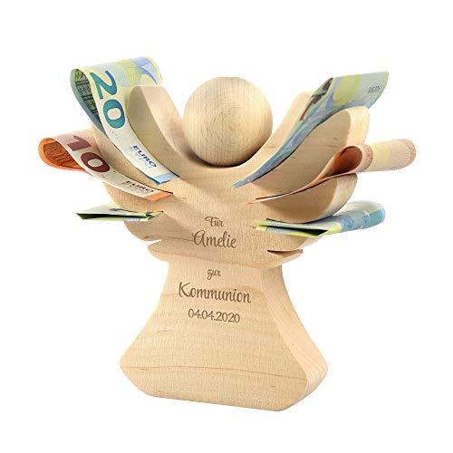 Casa Vivente Holzengel mit Gravur - Engel zur Kommunion - Personalisiert mit Namen und Datum - Aus Erlenholz - Verpackung für Geldgeschenke - Geschenkidee für Mädchen und Jungen