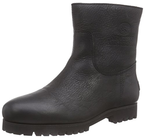 Shabbies AmsterdamShabbies REAL WOOL lined 16cm booty commando sole flat - Stivali Combat, gamba corta, imbottitura calda donna , Nero (Schwarz (Black 002)), 38