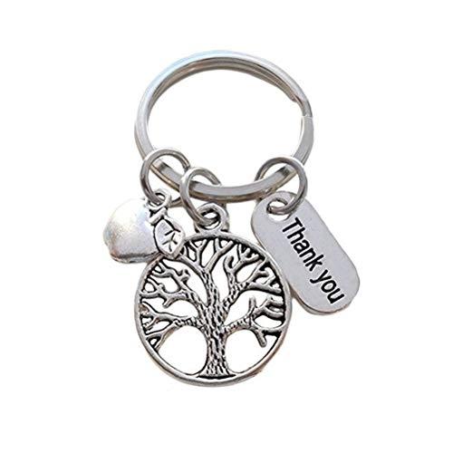 BESTOYARD Thanksgiving Schlüsselanhänger Apfelbaum Tasche Anhänger Schlüsselanhänger Dekor Festival Geschenk für Kinder und Erwachsene (Silber)