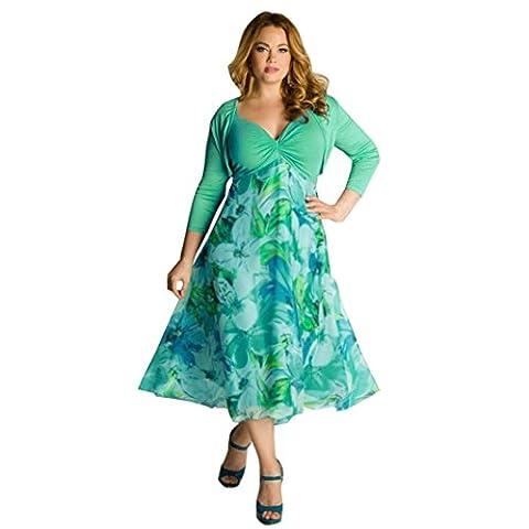 Frau Kleider YunYoud Damen Übergröße erotisch Langes Kleid Lässige V-Ausschnitt