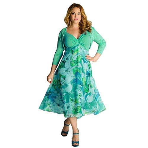 Gedruckt V-ausschnitt Kleid (Frau Kleider YunYoud Damen Übergröße erotisch Langes Kleid Lässige V-Ausschnitt Blumen gedruckt Kleider Maxi Abendliche Feier Kleid Boho Strand Kleid Und Tops (XXXL, Grün))