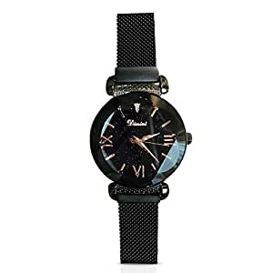 Rorios fashion analogue quartz watches magnetic mesh band starry sky dial wrist watches for girl for Magnetic watches
