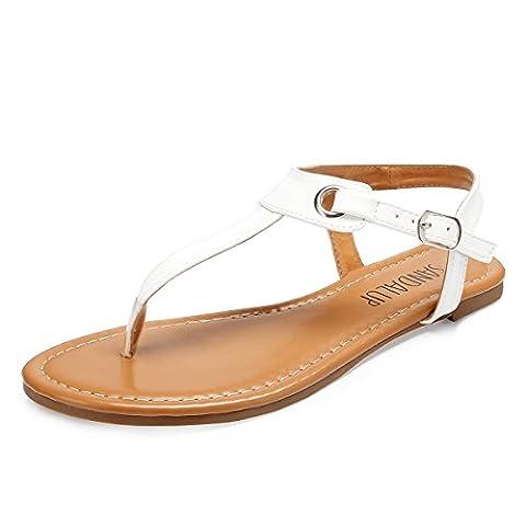 SANDALUP Metall-Elemente Damen Sandalen (Size 39 EU/UK 6) Weiß