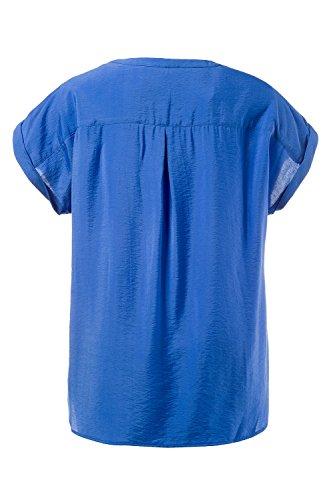 Ulla Popken Damen große Größen | Bluse | Schulter-Details | V-Ausschnitt | Halbarm | oversized | bis Größe 62+ | 710352 Meerblau