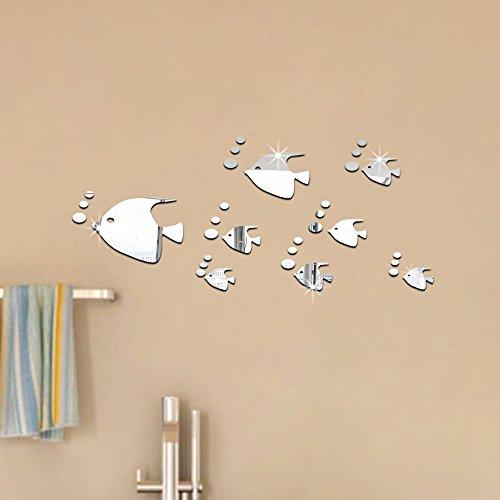 ufengke® 8 Piezas 3D Peces Tropicales Efecto de Espejo Pegatinas de Pared Diseño de Moda Etiquetas del Arte Decoración del Hogar Plata