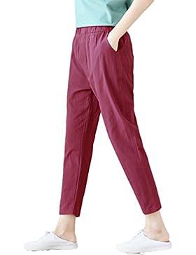 Tookang Mujeres Sólido Pantalones Harem de Cintura Elástica de Lino Yoga Fitness Delgado Tamaño Grande para Vida...