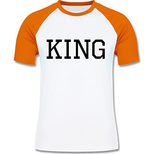 Partner-Look Pärchen Herren - King schwarz - zweifarbiges Baseballshirt für Männer Weiß/Orange