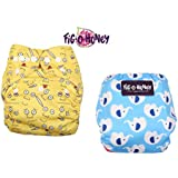 Fig O Honey Reusable New Born Baby Cloth Diapers | Multi-Color Baby Cloth Nappy With Free Absorbent Inserts | Washable Elastic Cloth Diapers | Reusable Elastic Printed Cloth Diapers | ( Emoji & Elephant Print Combo )