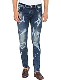Flying Port Men's Slim Fit Cotton Lycra Navy Blue Jeans