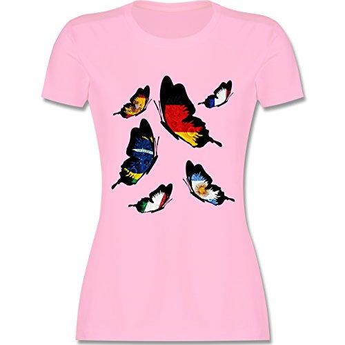 Länder - WM 2018 Länder Schmetterlinge - XL - Rosa - L191 - Damen Tshirt und Frauen T-Shirt