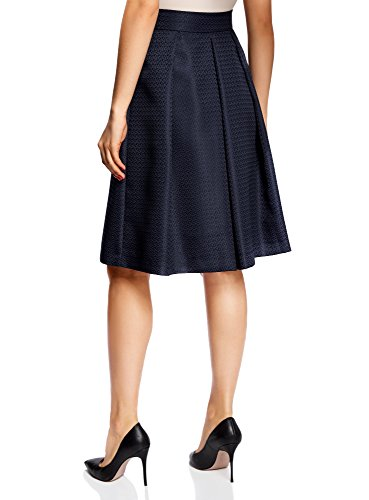 oodji Collection Damen Midi-Rock mit Kellerfalten Blau (7900N)