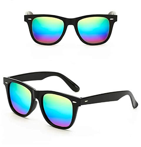 No Name Ltd Herren Damen Retro-Sonnenbrille, quadratisch, verspiegelt, Übergröße Vintage 2019 Ibiza Festival Gr. Einheitsgröße, Metallic Rainbow