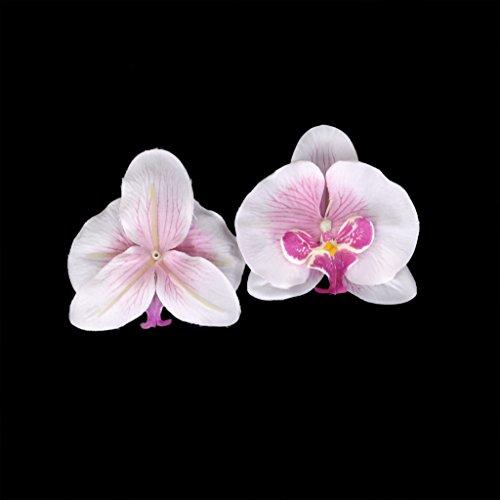 Generic 20x Kunstblumen Orchidee Blumen Köpfe , Schmetterlingsorchidee Blüten Blumenköpfe Hochzeit Dekoration - Weiß mit Lila, 9cm