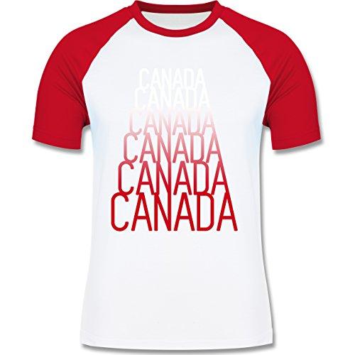 Länder - Canada Fan Shirt - zweifarbiges Baseballshirt für Männer Weiß/Rot