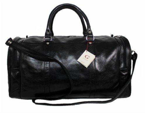 Reisetasche Leder Damen Herren Sporttasche Weekender Board-tasche Echt-Leder Handgepäck-Tasche große Umhängetasche leichtes Duffel Bag Weekend Bordgepäck Leder-Tasche schwarz 05811