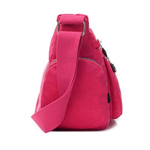 Tiny Chou - Borsa messenger a tracolla, in nylon leggero e impermeabile, con numerose tasche e cerniere Rosa (rosa)