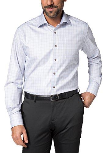 Eterna Long Sleeve Shirt Comfort Fit Twill Checked azzurro chiaro