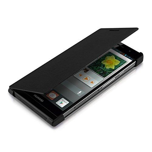 kwmobile Flip Case Hülle für Huawei Ascend P6 - Aufklappbare Schutzhülle Tasche im Flip Cover Style in Schwarz