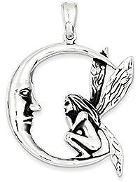 Broche de plata de ley diseño de hada con lámpara de techo de pared con marco envejecido Moon - JewelryWeb