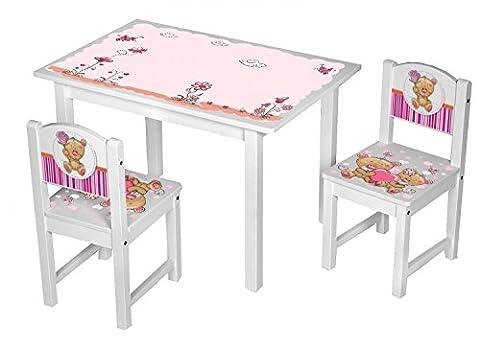 Kinder Stühle Tisch Kindersitzgruppe Kinderstühle massiv Holz Teddy rosa pink Größe 2 Stühle + 1 Tisch