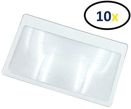 Thorani Taschenlupe im Kreditkartenformat / Kartenlupe / Lupe mit 3-facher Vergrößerung, ultra dünn, biegsam und bruchsicher - 10 Stück