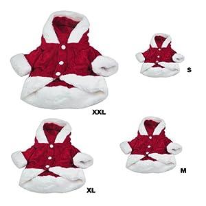 DcolorChien Costumes Noel Ange Aile Chien Veste costume de Pere Noel Fantaisie Cadeaux D'animaux - Rouge(S)