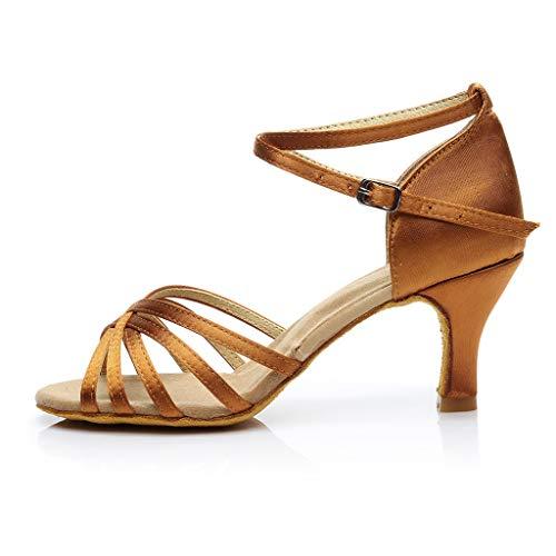 Donna scarpe da ballo, zarupeng bambine raso scarpe da ballo latino/standard ballroom sala da ballo scarpe - latino americano - bambine - ragazze - ballroom(marrone,34 eu)