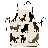 varietà di Razze di Cani Sagome Cucina Grembiule da Cucina per Le Donne e Gli Uomini Tracolla Regolabile Ristorante casa Cucina Grembiule Bavaglino per Cucinare, Barbecue
