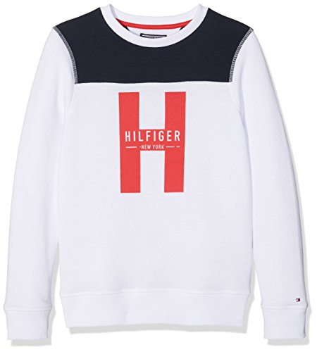 Tommy Hilfiger Jungen Sweatshirt B2S Capsule Boys CN Hwk L/S Weiß (Classic White 02306-F 100), 140 (Herstellergröße: 10) (L/s Pullover Boys)