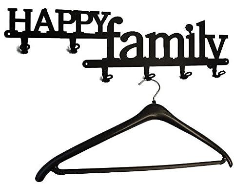 Patères pour manteaux - crochet mural * Happy Family * - patère - 6 crochets - vestiaire
