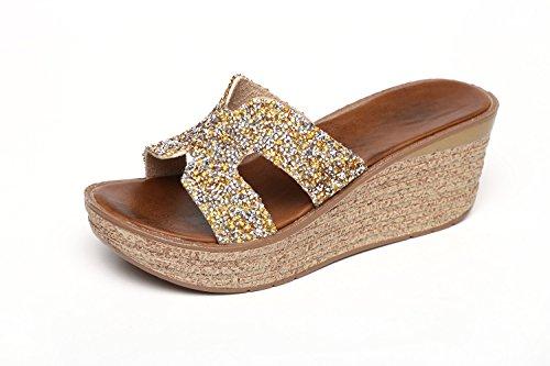 GTVERNH-golden 7.5cm bene le pantofole donna summer - piattaforma spessa in spiaggia scarpe pantofole di antiscivolo china tacco con sandali femminili,39 Thirty-six