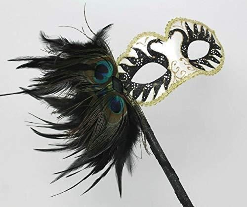 Unbekannt Damen Schwarz Weiß und Gold Funkelnd Venetianische Maskerade Partei Karneval Maske auf Einem Stock mit ()