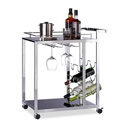 Relaxdays Desserte de cuisine verre BARON design noir étage pour 6 bouteilles de vin métal chariot 4 roues HxlxP: 75 x 40 x 70 cm, noir