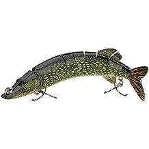 """Lixada 8 """"/ 20cm 66g Señuelo de Pesca Natural Multi-articulado 8 Segmentos Lucio Muskie Swimbait Curricán Cebo Duro Gancho Triple"""
