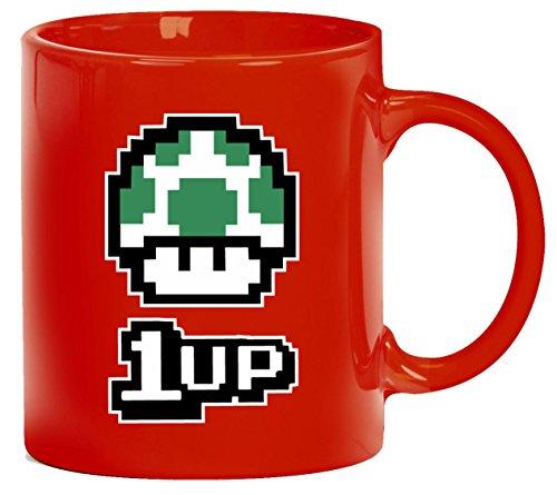 Videospiel Videogame Gamer Game Kaffeetasse Kaffeebecher Tasse Retro Gamer 1 Up Pilz, Größe: onesize,rot