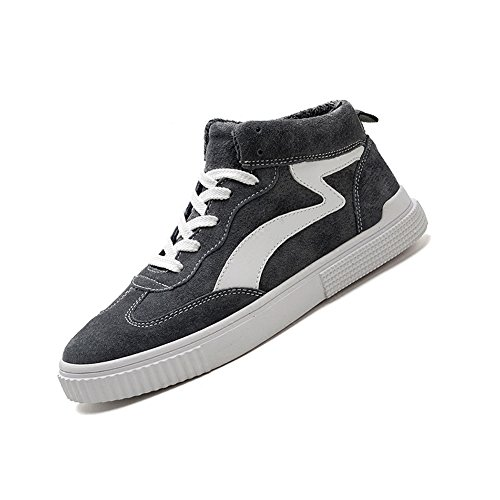 YIXINY Chaussures de sport LAB-751 High-top Chaussures Mâle Tendance Tissu Chaussures Plaque Chaussures Casual Chaussures Gris, Noir