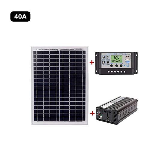 QueenHome Wechselrichter Solarpanel Und Controller Kit Mit 20W 18V Polykristallines Solarpanel Solar Controller Inverter Kit Backup Solar Power Systeme Für Den Außenbereich Und Haushalt Backup-controller